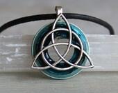 blue triquetra necklace, celtic jewelry, mens necklace, unique gift, mens gift, mens jewelry, irish jewelry, celtic knot, celtic necklace