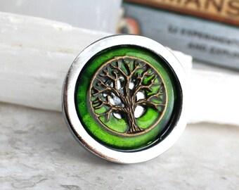 green tree drawer pull, dresser hardware, cabinet knob, cabinet pull, drawer handle, decorative knob, kitchen drawer, bathroom hardware