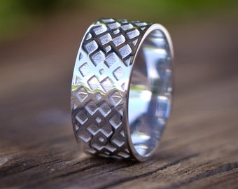 Lattice ring - sterling silver band