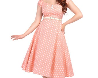 Vintage 50s Style Dolores Pastel Pink Polka Dot Swing Dress Rockabilly Pin Up