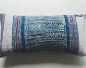 Floral Boho Pillow Cover - Vintage Hmong Batik Textile - Pink and Indigo Boho Throw Pillows