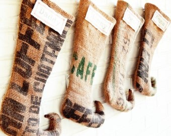 Personalized Stockings Christmas - Rustic Burlap Stockings - Holiday Decor - Family Stockings