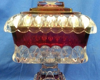 Year End Sale Vintage Westmoreland Cranberry Candy Dish with Lid