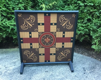 "19"", Parcheesi, Game Board, Folk Art, Primitive, Wood, Game Boards, Wooden, Hand Painted"