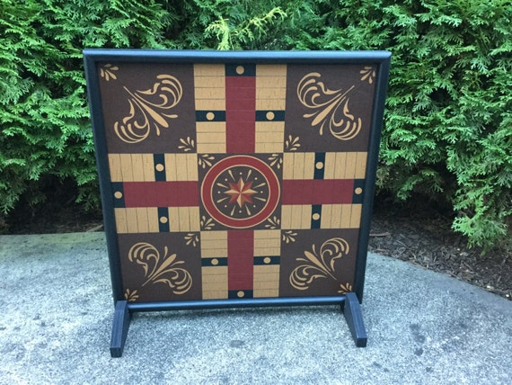 """19"""", Parcheesi, Game Board, Folk Art, Primitive, Wood, Game Boards, Wooden, Hand Painted"""