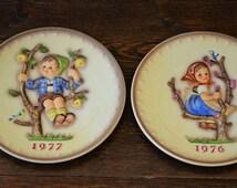 Two Goebel Hummel Collector Plates 1976 1977 Apple Tree Girl Pear Boy / Vintage Wall