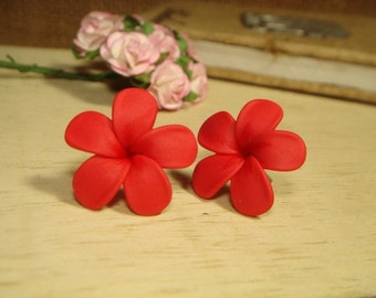 Sweet Red Plumeria Frangipani Stud/Post Earrings (E156)