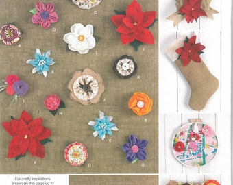 Flower Pattern, Felt Flower Pattern, Fabric Flower Pattern, Burlap Flower Pattern, Flower Embellishments, Simplicity 160 Craft Pattern