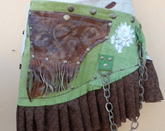 """20% OFF bohemian tribal gypsy fringed leather belt..44"""" to 50"""" waist or hips.."""