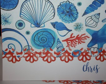 Beautiful sea shells handcrafted Note Cards - personalization may be left off  Set of 10