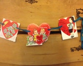 Valentine Banner repurposed vintage valentines garland bunting ONE OF A KIND Shabby Chic  love home decor heart banner wall decor mantle