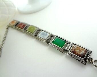 Chunky Square Linked Bracelet / Vintage Earth Tones / Green Orange Browns / Multi-Color