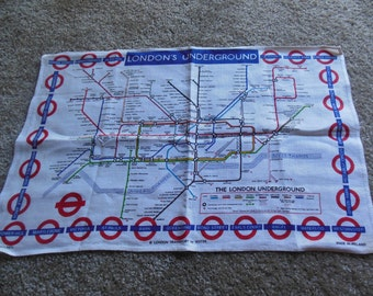 Vintage London's Underground Map  Themed  Linen Dishtowel