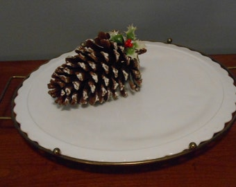 Milk Glass Cake Plate with Metal Stand
