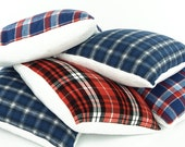 "Reversible Minky Sherpa / Flannel Plaid 18"" Square Pillow Cover, Red White and Blue Checkered Fleece, Tartan Pillow, Swiss Chalet Collection"