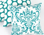 Turquoise Floral & Dot Throw Pillow Cover 18x18, Damask Pillow, Reversible, Blue Cushion Cover, Blue Pillow, Blue and White, Turquoise Mist
