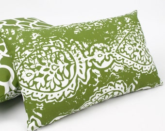 Green Outdoor Reversible Lumbar Pillow Cover, Green Outdoor Pillows, Outdoor Cushions Green, Green & White, Modern Outdoor,  Roma 12x20