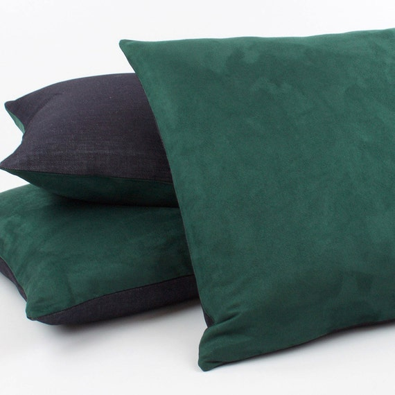 Hunter Green Throw Pillow : Hunter Green Faux Suede 20x20 Pillow Cover by ChloeandOliveDotCom