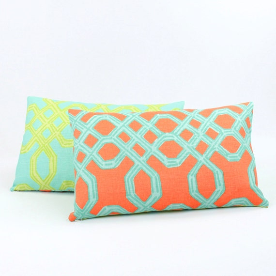 Lilly Pulitzer Orange & Turquoise Reversible Lumbar Pillow Cover 12x20, Preppy Pillow, Chevron Pattern, Bedding Pillow, Kiwi Sunset