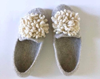 The Wool Felted Slippers - Boyfriend Slippers for Women - Felted Wool - Cream and Oatmeal / Flower / Neutrals / Tans / Poof Flower / Pom Pom
