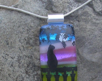 Moon Cat Pendant Dichroic Fused Glass Jewelry Cat Necklace