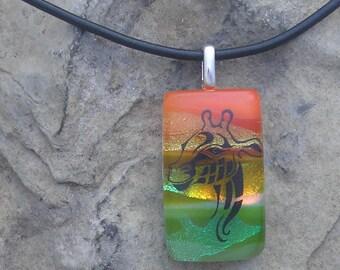 Giraffe Necklace Dichroic Fused Glass Giraffe Pendant