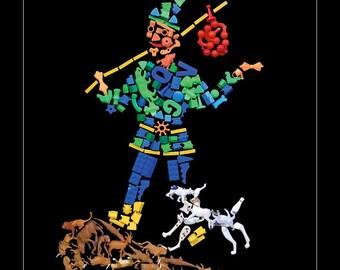 Tarot Card Clown Art Fool Card Jester Poster Fantasy Print Occult Wall Art Black Wall Art  Fortune Telling Art Horoscope 11 x 14 print