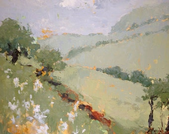 Original oil painting // Tapesty of Fields // large artwork