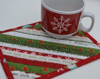 Christmas Cotton Coaster, Mug Rug, Holiday Decor, Upcycled Placemat, Table Protector, Mini Quilt, Red Green