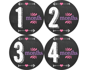 Baby Month Stickers, Monthly Baby Stickers, Monthly Photo Stickers, Girls First Year Photo Props, Baby Shower Gift, Chalkboard (G238)