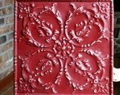 """Genuine Antique Ceiling Tile -- 12"""" x 12"""" -- Colonial Red Colored Paint -- Pretty Victorian Design"""