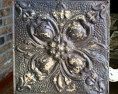 """12"""" Antique Tin Ceiling Tile -- Olive Color with Rusty Cream Paint -- Flower Pattern"""