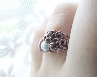 Mint Ring, Delicate Boho Copper Ring, Woodland Jewelry, Rustic Elvish Mint Ring