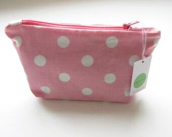 Cosmetics Case With Zipper Make Up Bag Pink Spot