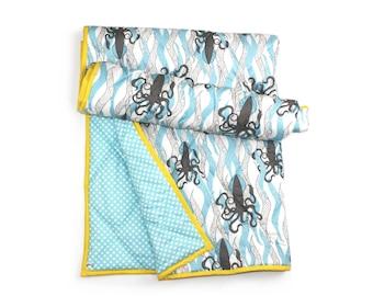 NAUTICAL BABY BEDDING, ocean baby blanket, Baby Boy Blanket, Aqua baby bedding, Ocean Crib bedding, squid baby blanket, ocean nursery
