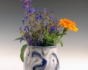 blue and white flower vase