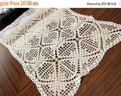 Table Runner or Table Scarf in a Medium Ecru Shade, Vintage Crochet  13010