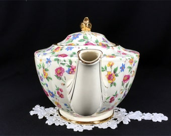 James Sadler Chintz Teapot - Shabby Wildflowers, Antique White, Floral Transferware Tea Pot 12955