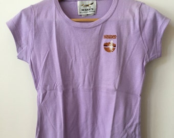 vintage old school tennis fitted purple tee