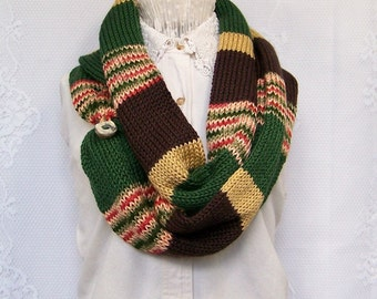 Knit scarf - brown, maize, green and multi color women's infinity scarf - circle scarf, double knit scarf - gift for her - ready to ship