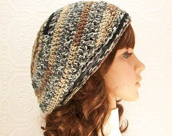 Crochet slouch hat, beanie - multi color - Winter Fashion, women's winter accessories, gift for her by Sandy Coastal Designs - ready to ship