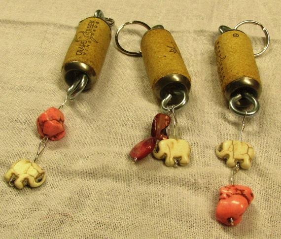 Cork Beads: Faux Ivory Elephant Beaded Wine Bottle Cork Key By