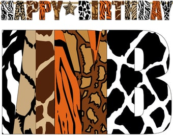 Safari Happy Birthday Banner, Jungle Printable Party Banner, Photo Prop Animal Print Banner - Instant Download- DP380