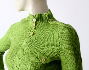 1970s green henley sweater with epaulets, vintage military style sweater