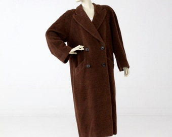 vintage Krizia coat, mohair alpaca wool double breasted trench