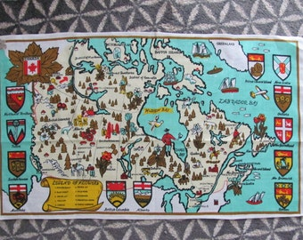 Vintage Canadian Provinces Linen Kitchen Tea Towel - NOS - Provincial Flowers - Kitchen - Mallouk - Canada Map - Saskatchewan - Ontario