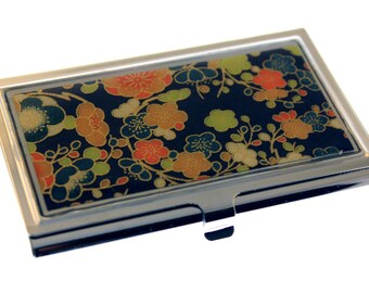 Navy and Orange Chiyogami.  Business card case. Gift card holder