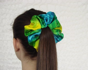 Turquoise Blue and Lemon Yellow Silk Satin Scrunchie