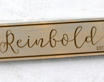 """5.5"""" x 20"""" Rustic Wooden Sign - Last name sign with est year - Made to Order - Engraved Sign"""