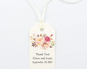 Favor Tag, Wedding Favor, Bridal Shower Thank You, Floral, Bohemian, Boho Chic, Rustic Party- Boho Blooms, 1.25 x 2.25 inches, Set of 25